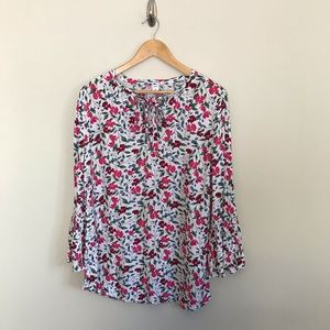 Old Navy Floral Bell Sleeve Shirt Blouse Tall Sz S